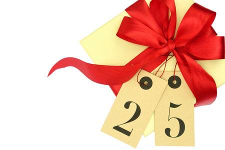 33826411-gift-box-with-red-bow-and-tags-with-number-25-isolated-on-white